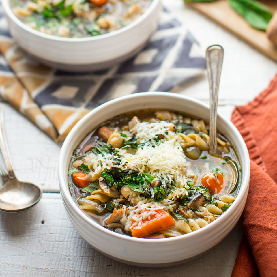 Your favorite restaurant soup just got easier and healthier with this freezer-to-crock-pot recipe. If you keep a special bottle of olive oil on hand for stand-out dishes, this is the recipe to pull it out for. The headiness of the fruity olive oil truly elevates the flavors in this Italian meal-prep slow-cooker soup.