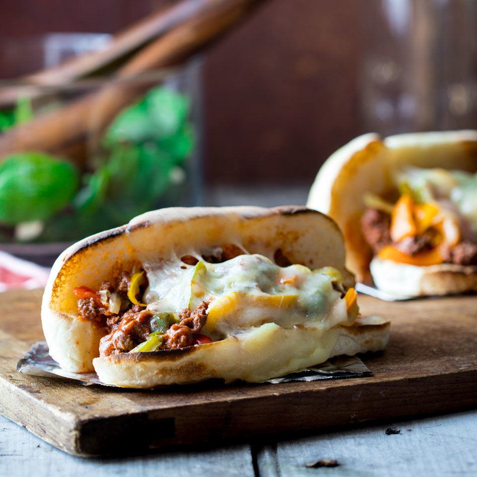 Two of our favorite comfort-food sandwiches join forces in these family-friendly dinner sandwiches. We found that softer buns make this easier to eat, and it's all the better when wrapped takeout-style in a sheet of foil. Source: EatingWell.com, February 2018
