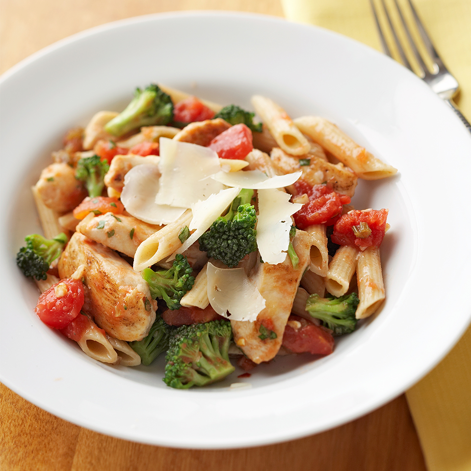 This quick and easy recipe tops multigrain or whole-grain pasta with flavorful chicken, broccoli and diced vegetables. With 0 grams of saturated fat and 20 grams of protein per serving, this recipe has everything you need for a no-hassle dinner. Source: Diabetic Living Magazine