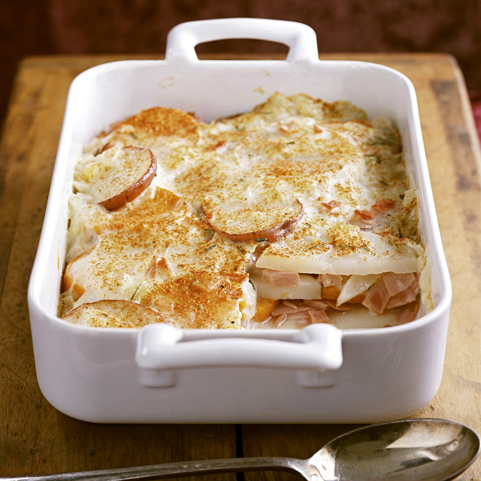 Instead of using just potatoes in this casserole, we've cut the carbs by using a trio of potato, turnip, and sweet potato slices. Source: Diabetic Living Magazine
