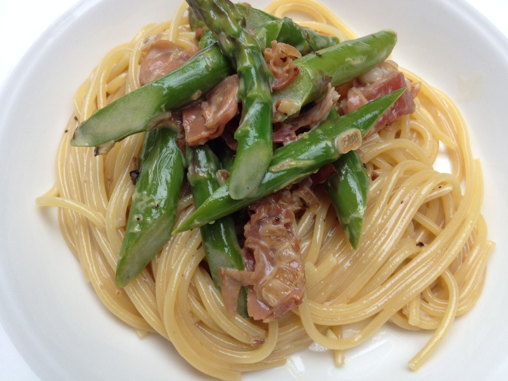 Creamy Pasta with Asparagus and Prosciutto