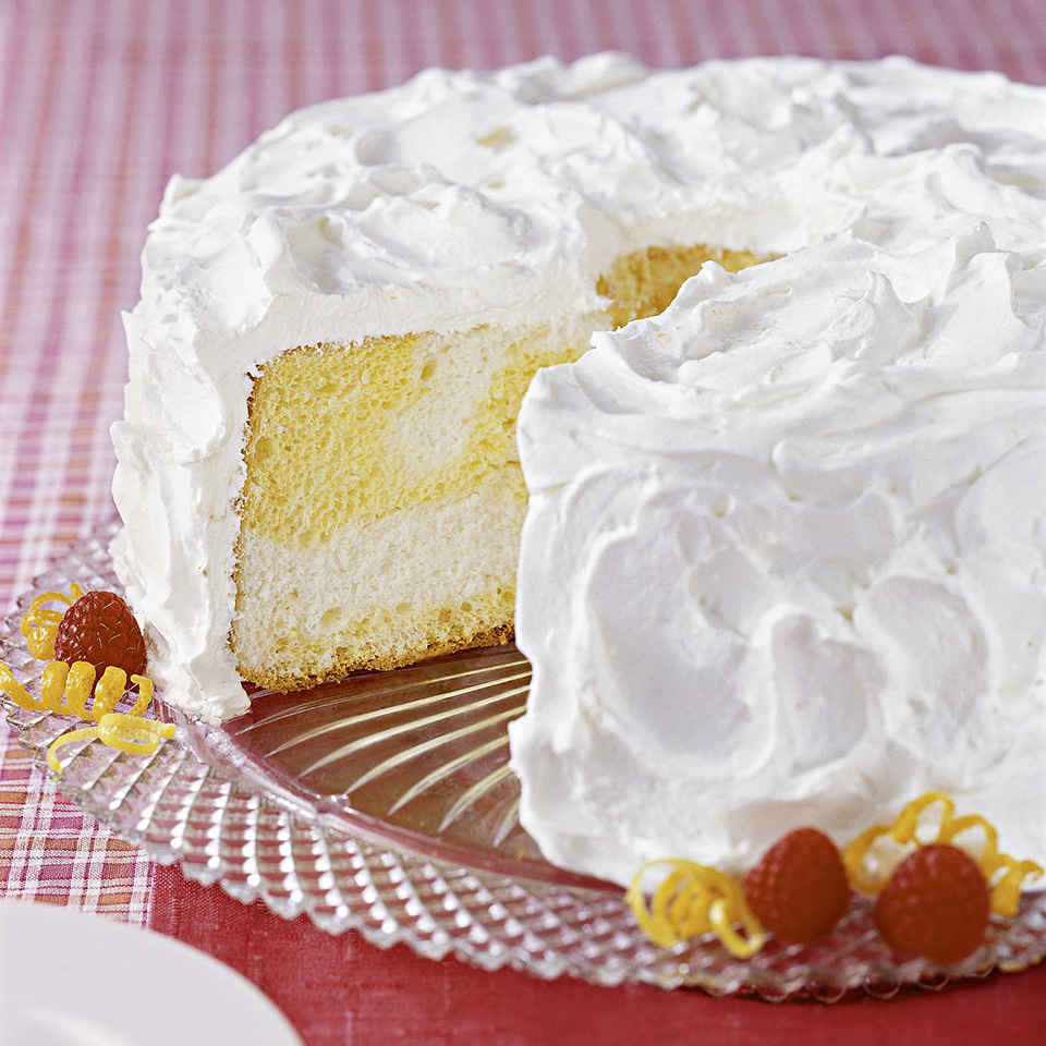 This light, low-calorie cake is frosted with lemon-flavored whipped topping. It's a sweet yet refreshing dessert after any meal. Source: Diabetic Living Magazine