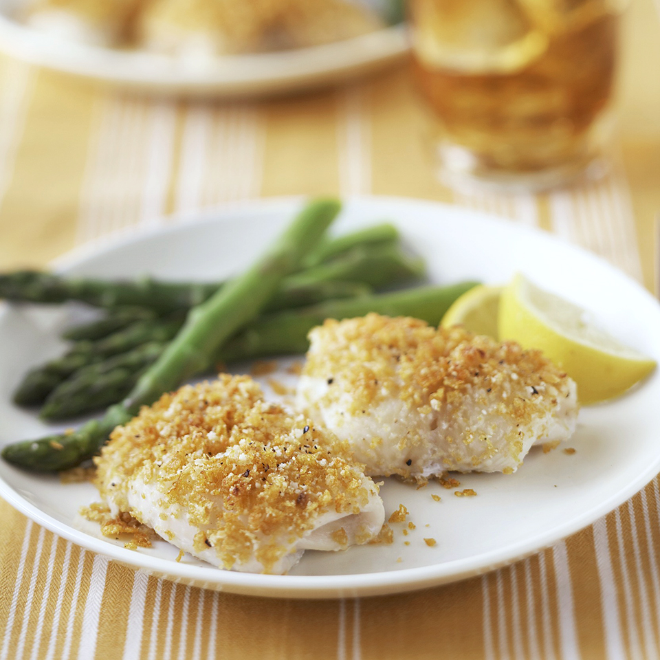 Crispy lemon fish with parmesan cheese in under 30 minutes! Source: Diabetic Living Magazine