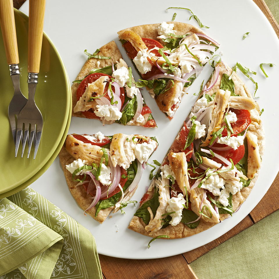 Tangy goat cheese adds loads of flavor to this easy pizza meal.