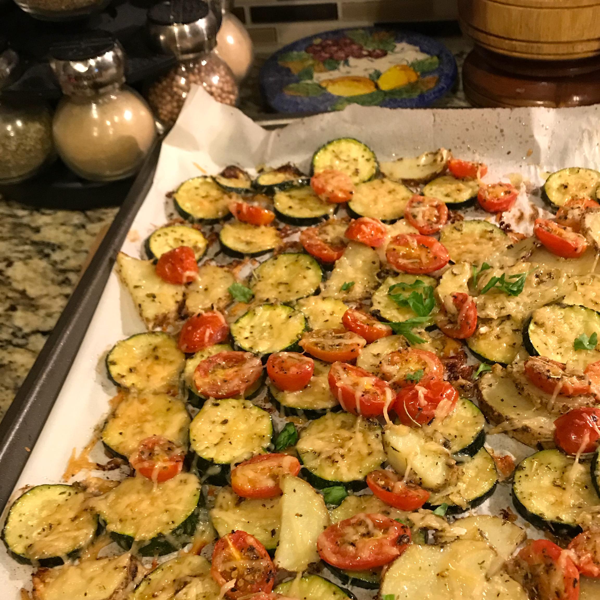 Zucchini e Pomodori Gratinati (Zucchini and Tomato Gratin) Debbie A Siberon