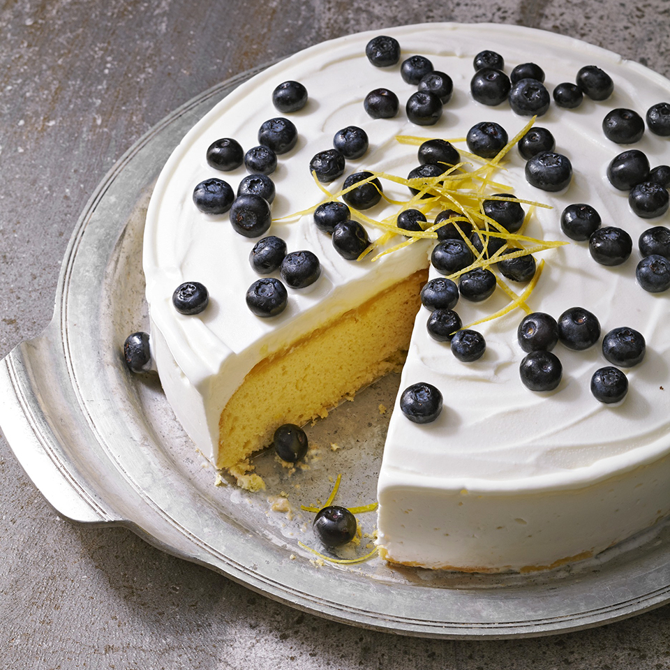 For a sweet and easy diabetes-friendly dessert, enjoy this lemony ice cream cake with blueberries. Source: Diabetic Living Magazine