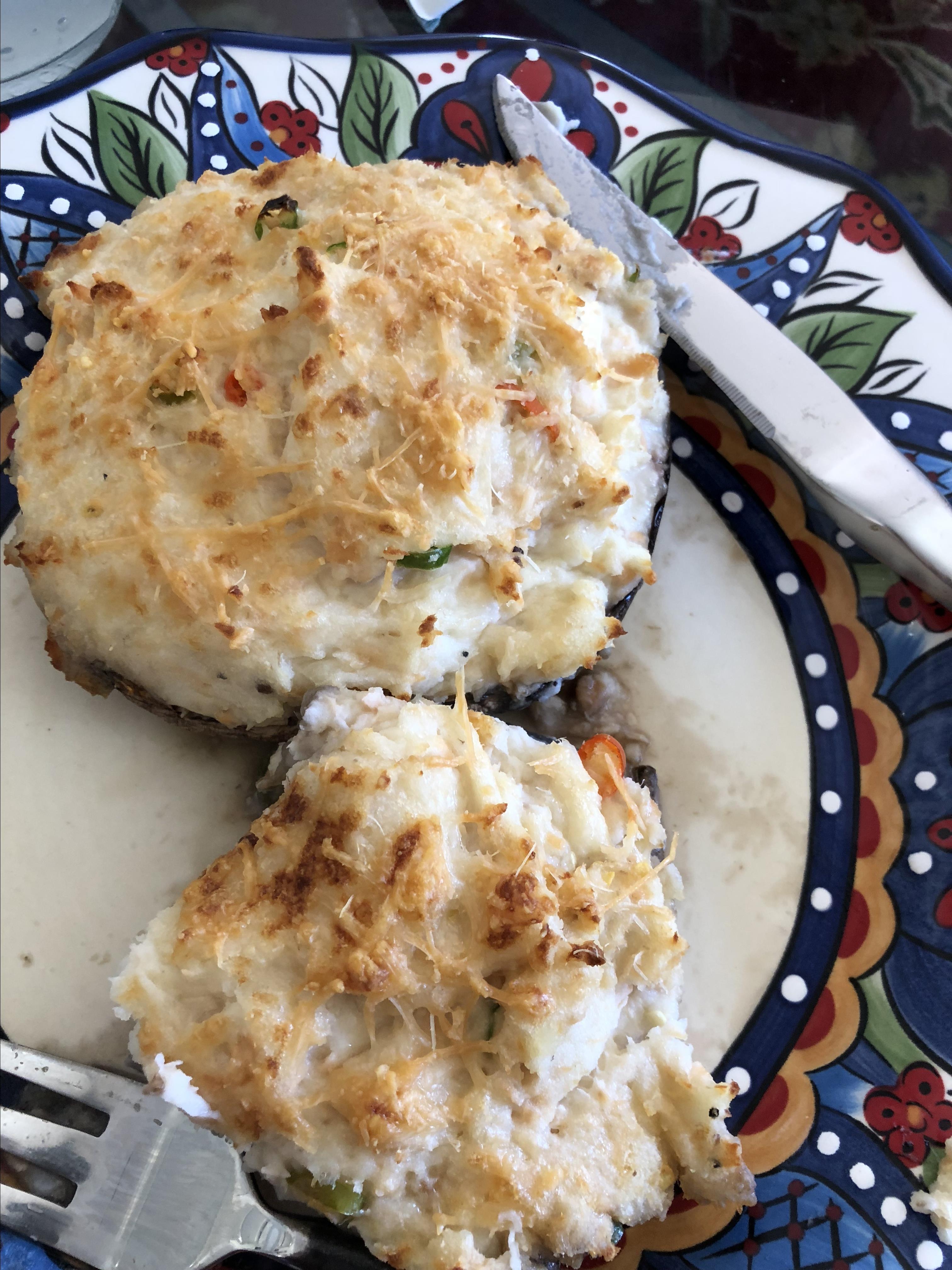 Four Cheese Mashed Potato Stuffed Portobello Mushrooms
