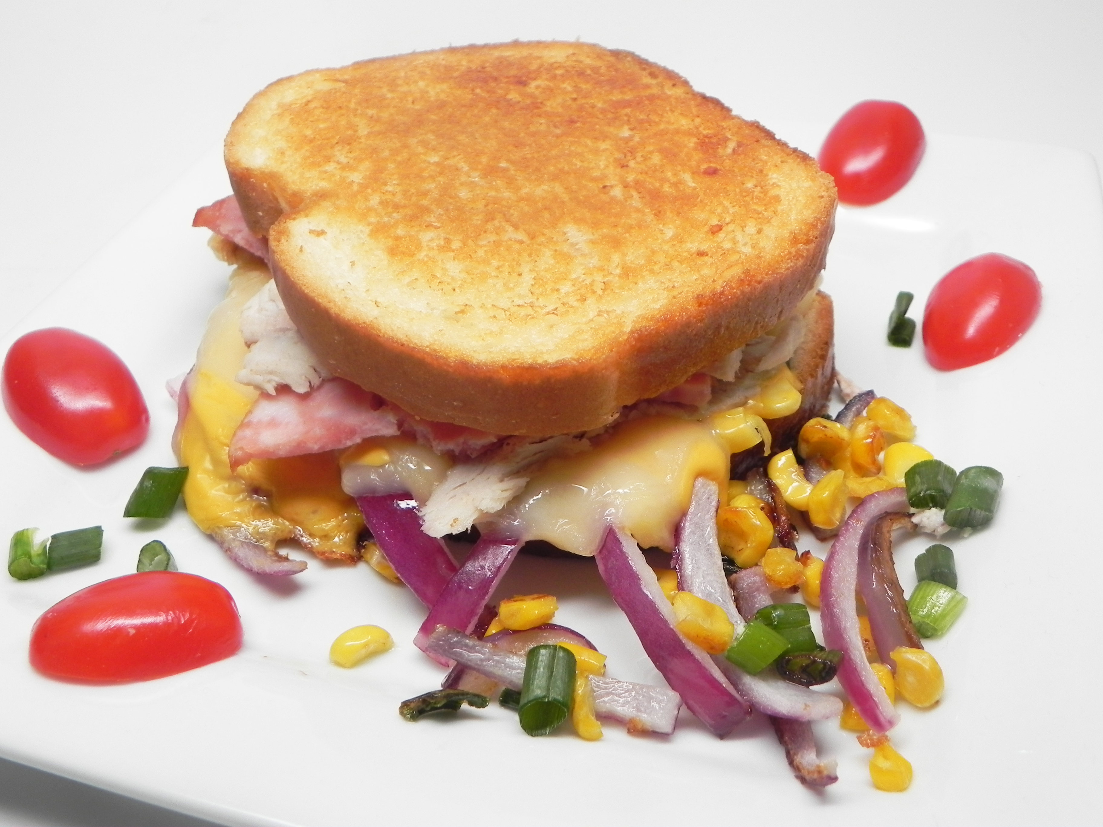 Twisted Ham and Turkey Grilled Cheese