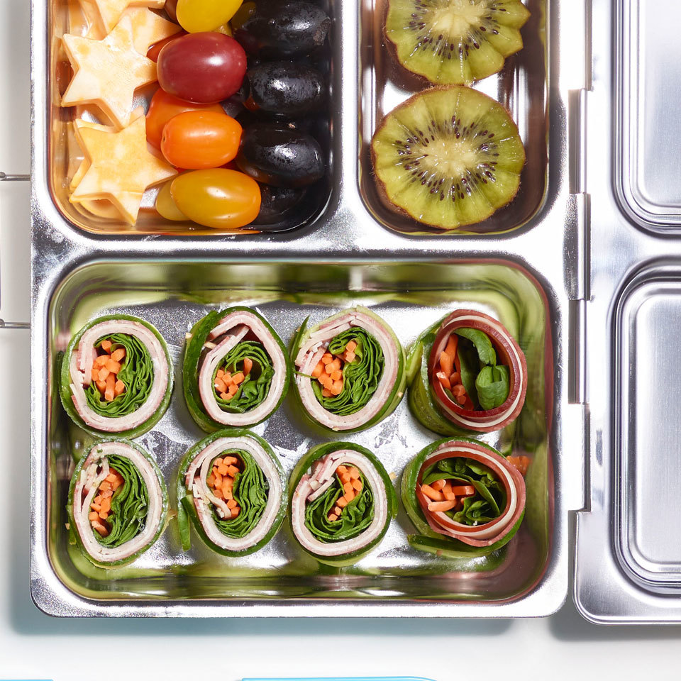 Thinly sliced cucumber is used as a low-carb wrap in this satisfying lunch recipe. Pile sandwich fillings like lunch meat, cheese and veggies on top of the cucumber slices, roll up and cut into bites like sushi. Round out this easy packable lunch with fresh fruit and veggies for a fun meal to take to work or school. Source: EatingWell.com, March 2018