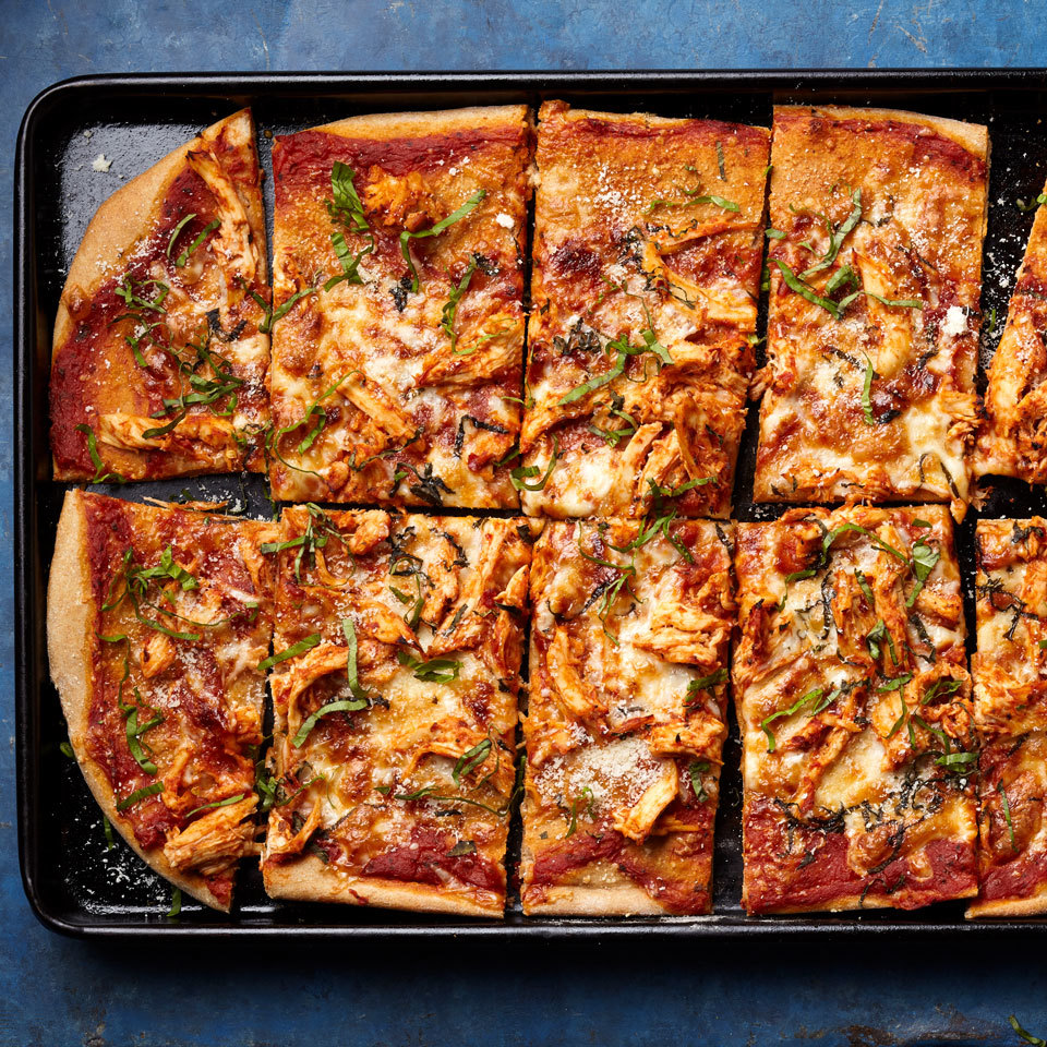 Upgrade pizza night with this recipe makeover that combines two all-time favorites--pizza and chicken Parm--into one quick and easy pizza (no dipping and breading required!). Source: EatingWell.com, March 2018