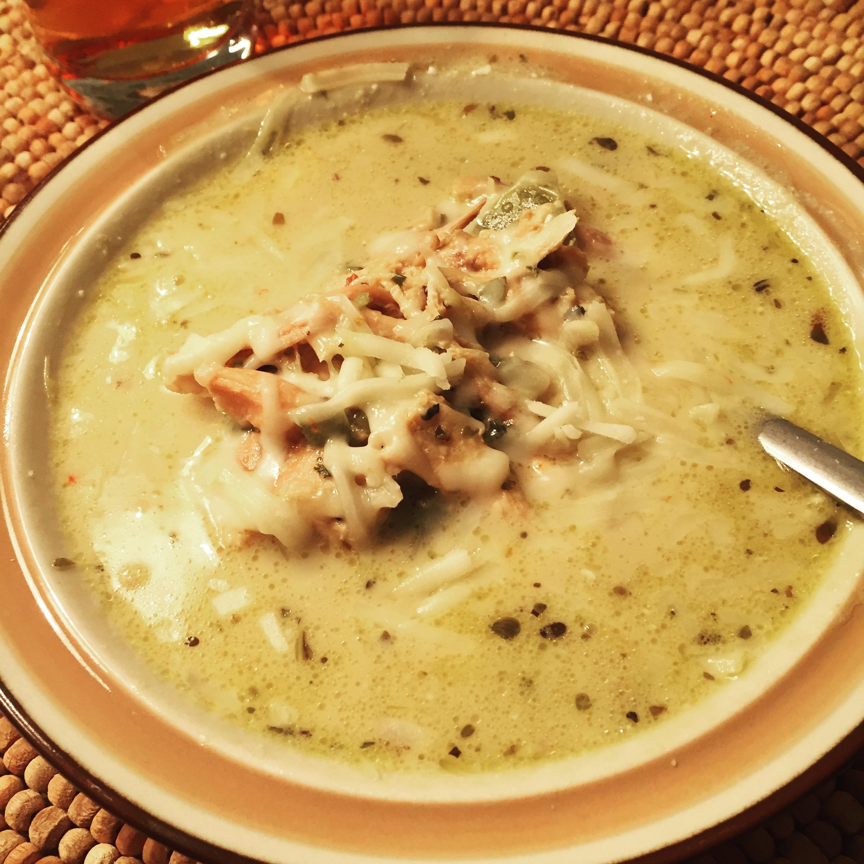 Creamy White Chicken Chili with Salsa Verde