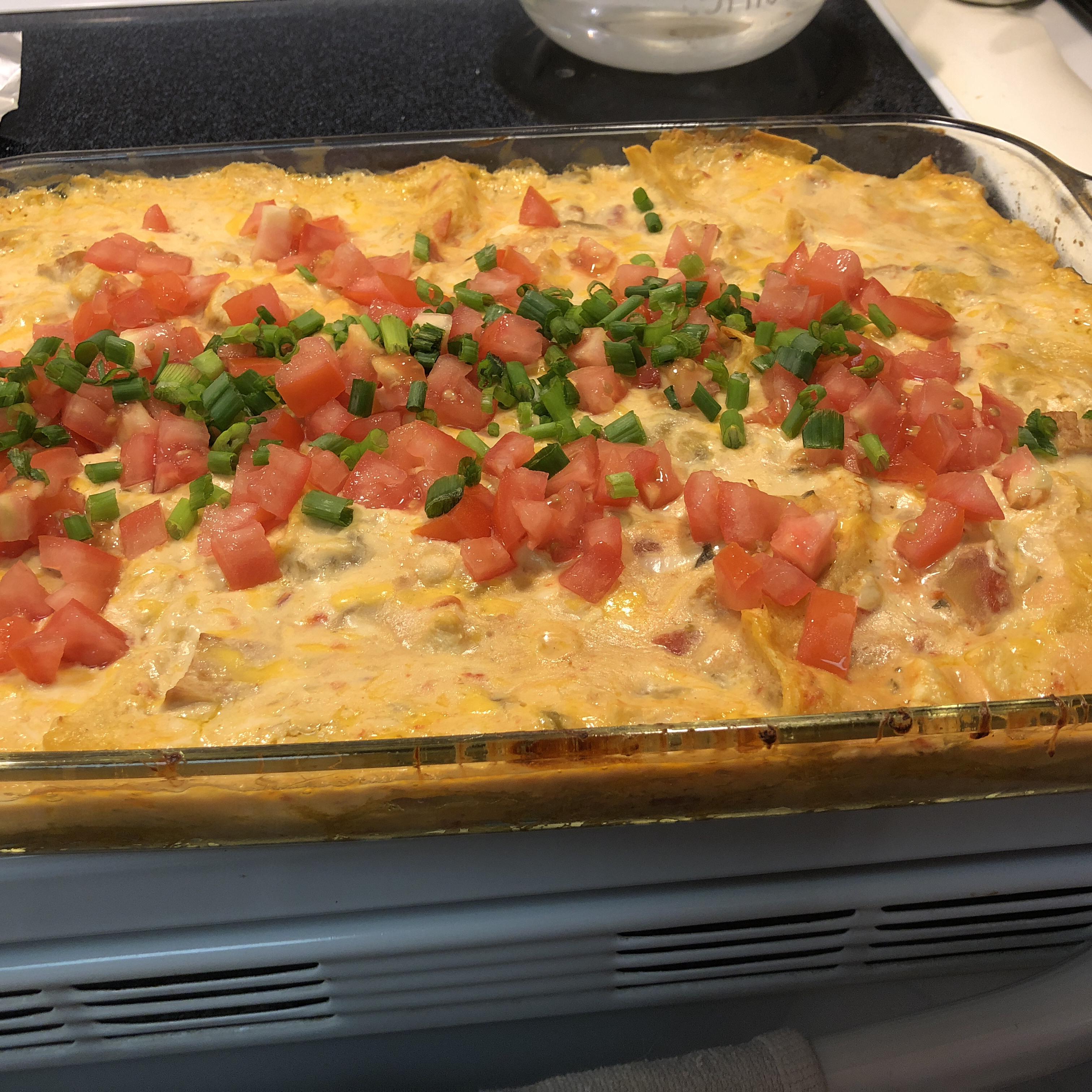 Cheesy Poblano Chicken Enchiladas