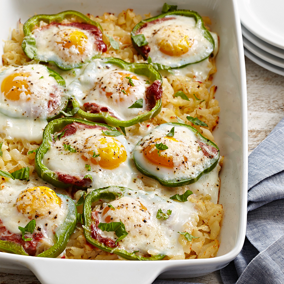 Sweet Pepper Hash Brown Baked Eggs Recipe Eatingwell