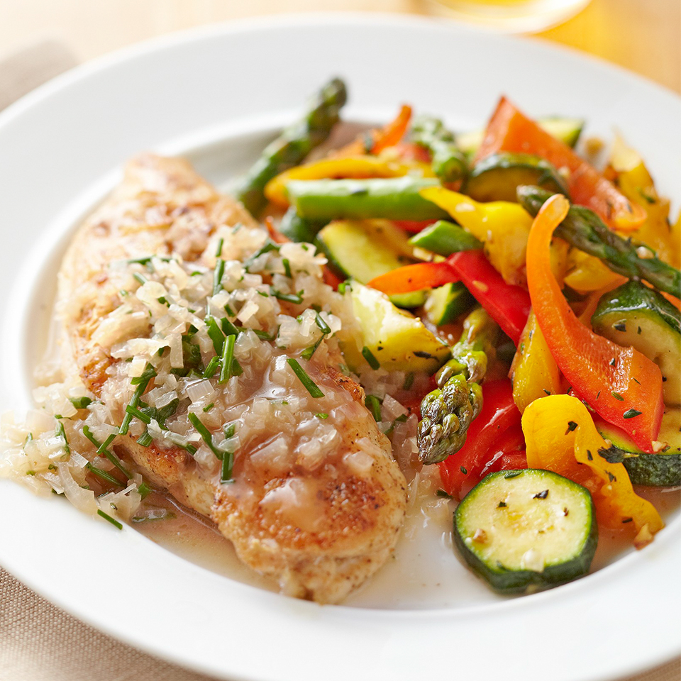 Sautéed Chicken Breasts with Simple Chive Sauce Diabetic Living Magazine
