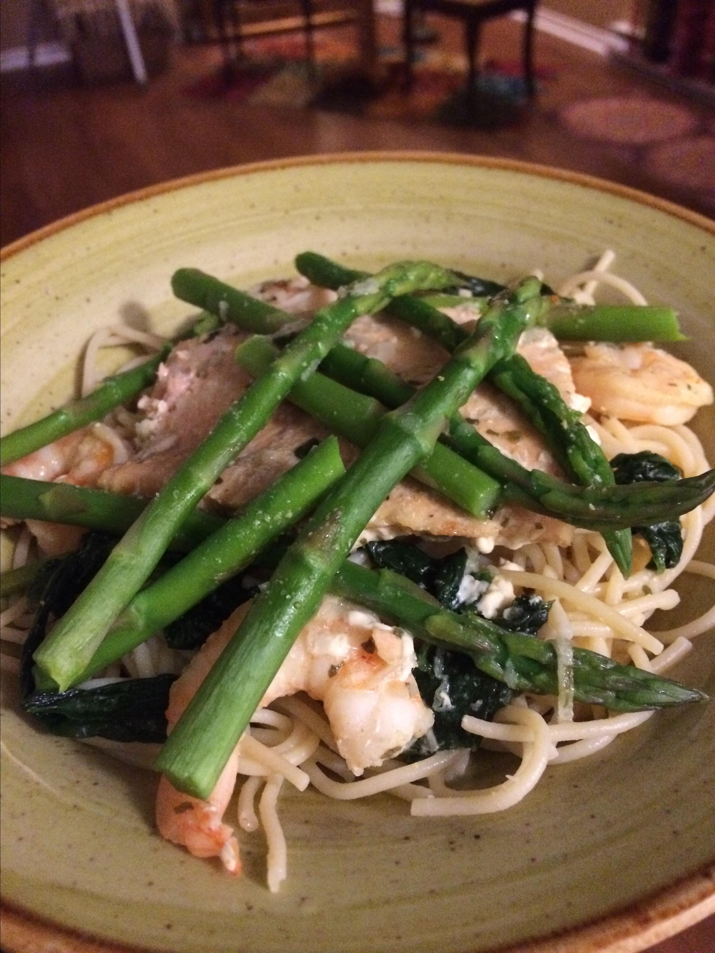 Salmon and Prawn Spaghetti BusyBeeTami