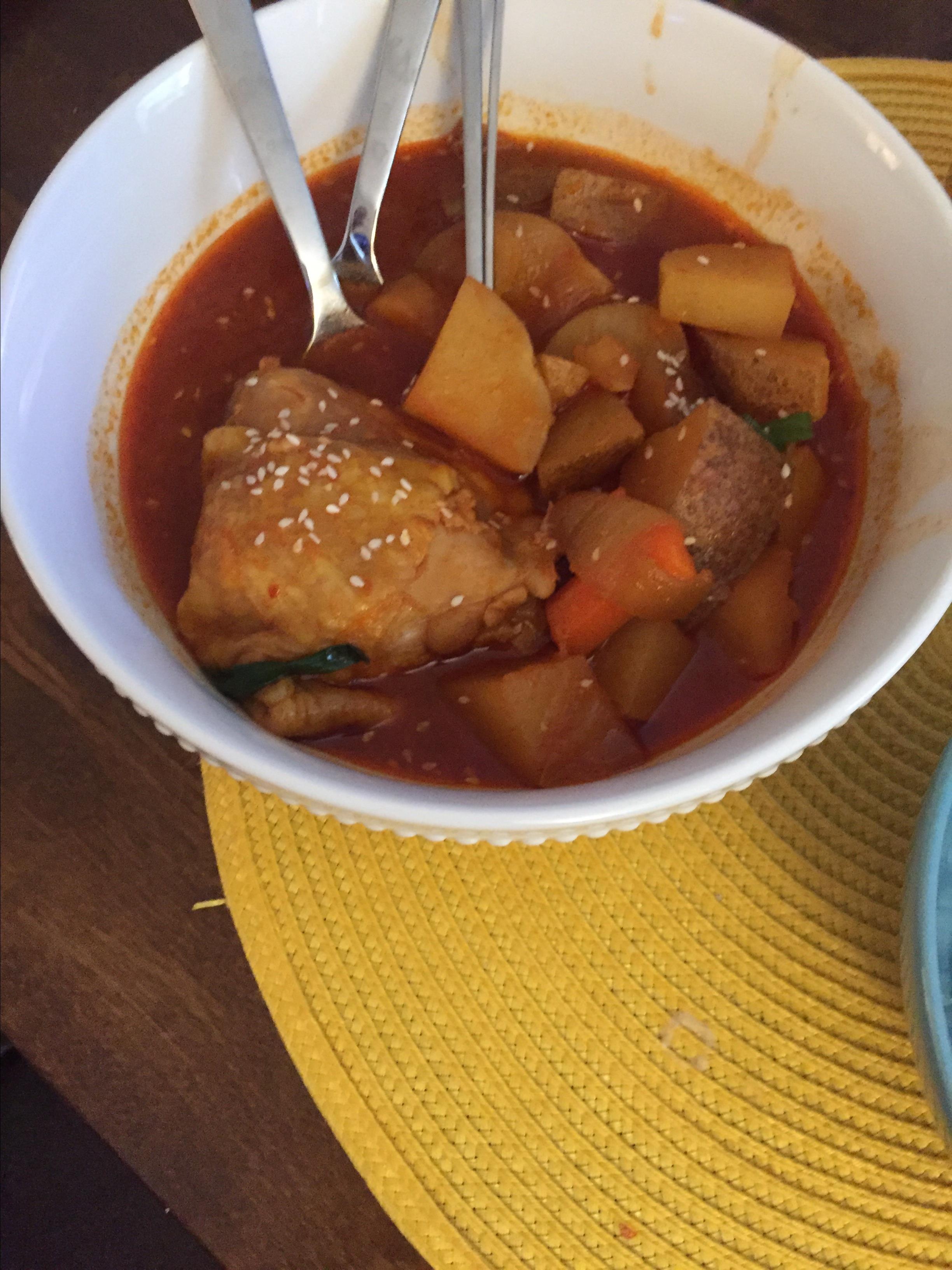 Dakdoritang (Korean Spicy Chicken Stew) melissa langham