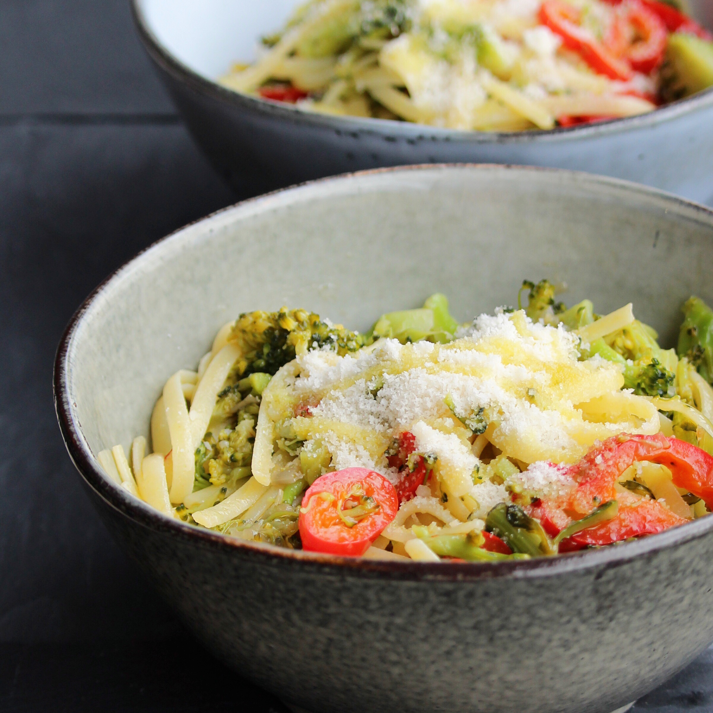 Linguini with Broccoli and Red Peppers Chris Catley