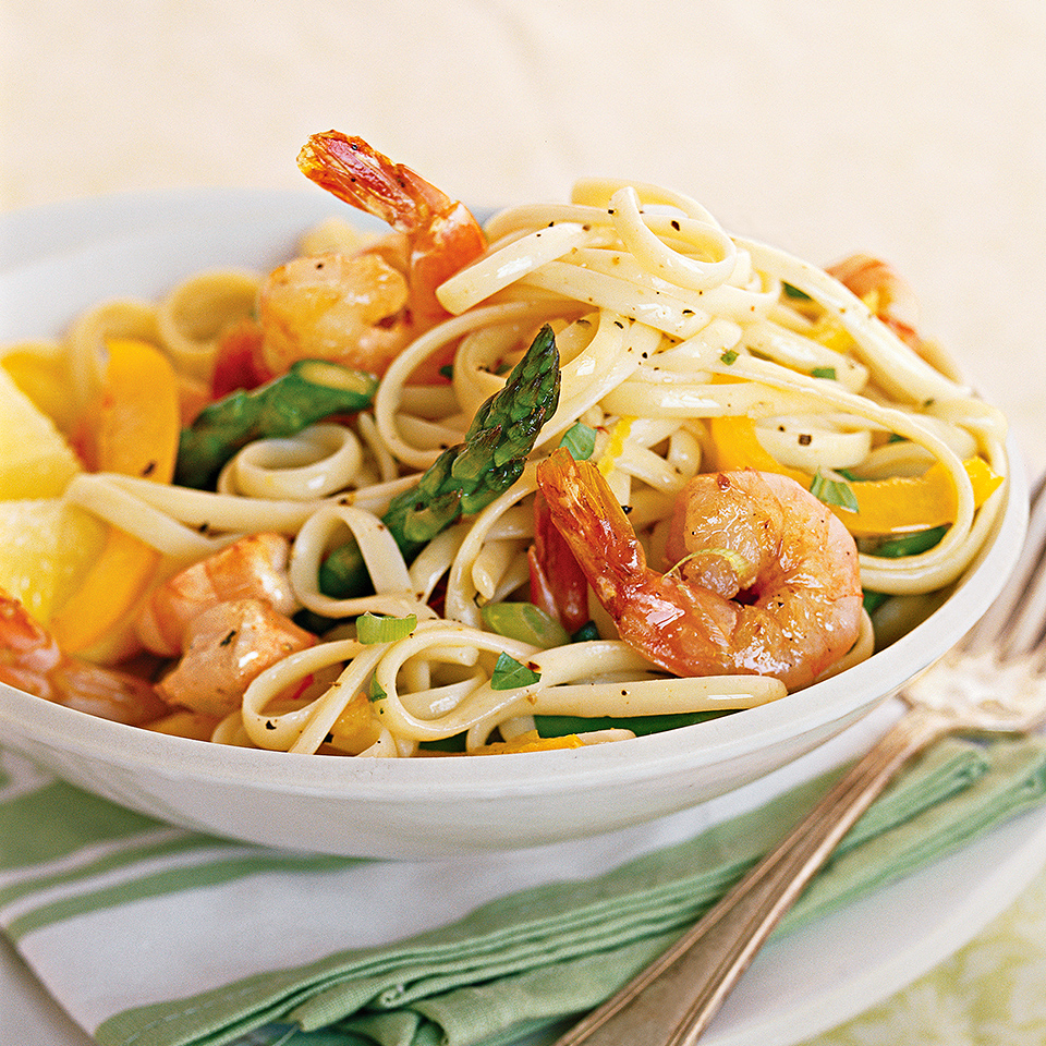 Basil, considered to be a royal herb in ancient Greece, provides color and flavor in this quick, diabetic-friendly seafood and pasta recipe.