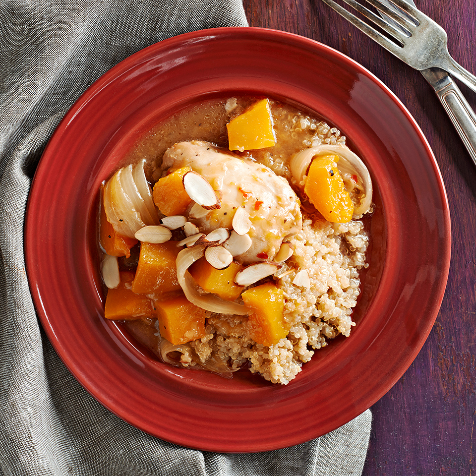 Combine orange juice, cornstarch, soy sauce, honey, ginger, garlic, salt and crushed red pepper with chicken and butternut squash in this delicious slow-cooker recipe. Serve over high-protein quinoa, which contains all nine essential amino acids. Source: Diabetic Living Magazine