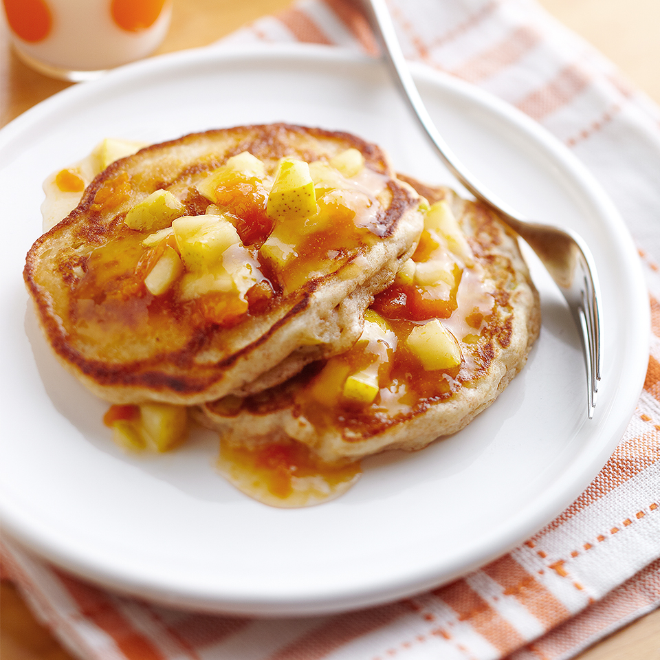 The combo of pear and ginger enhances both the pancakes and the simple-to-make syrup in this diabetic-friendly breakfast recipe. Source: Diabetic Living Magazine