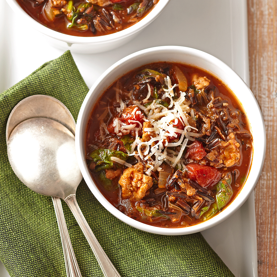 Using a slow cooker to prepare this diabetic-friendly, Italian Wild Rice Soup makes this scrumptious recipe easy and low maintenance. Source: Diabetic Living Magazine
