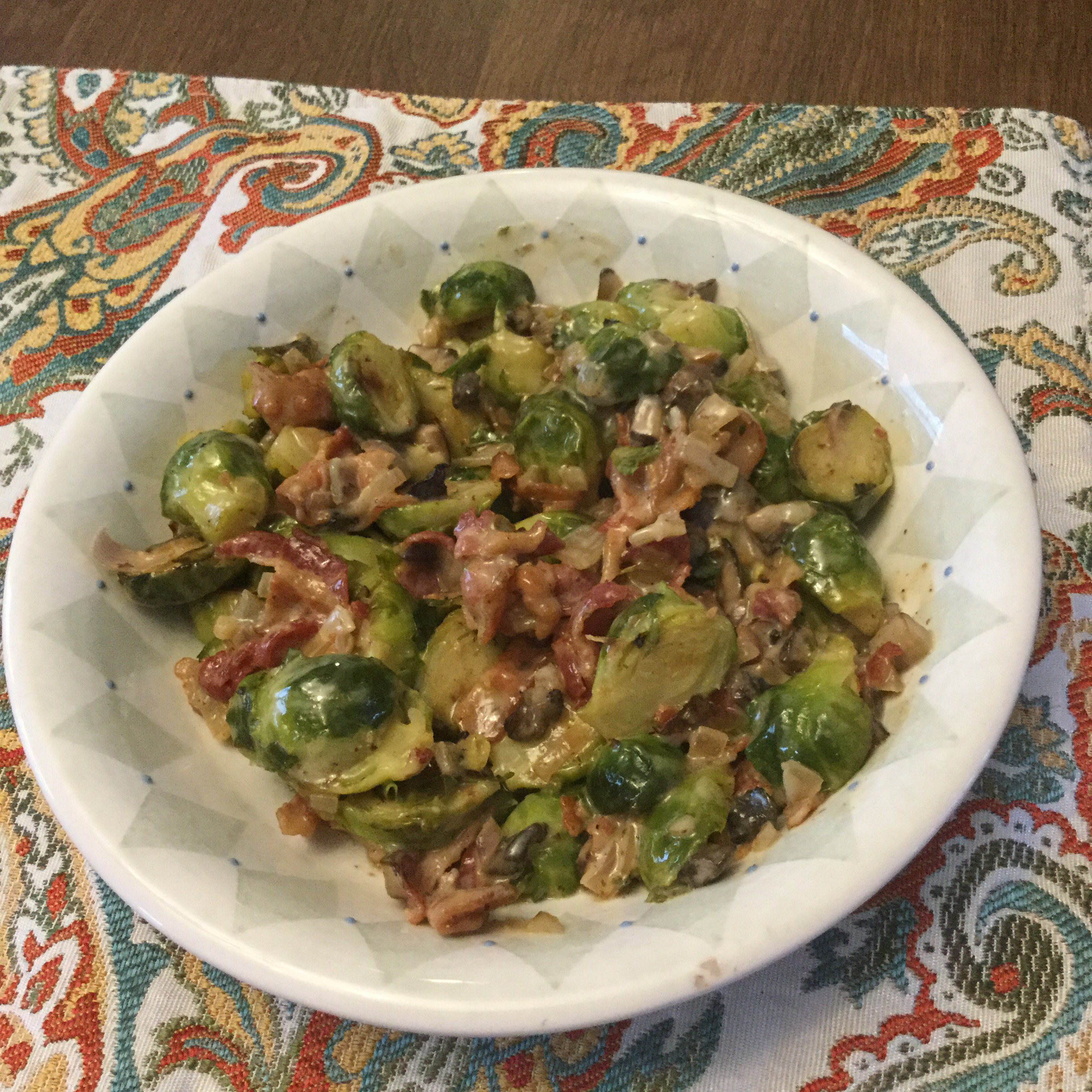 Brussels Sprouts in a Sherry Bacon Cream Sauce Jay bird