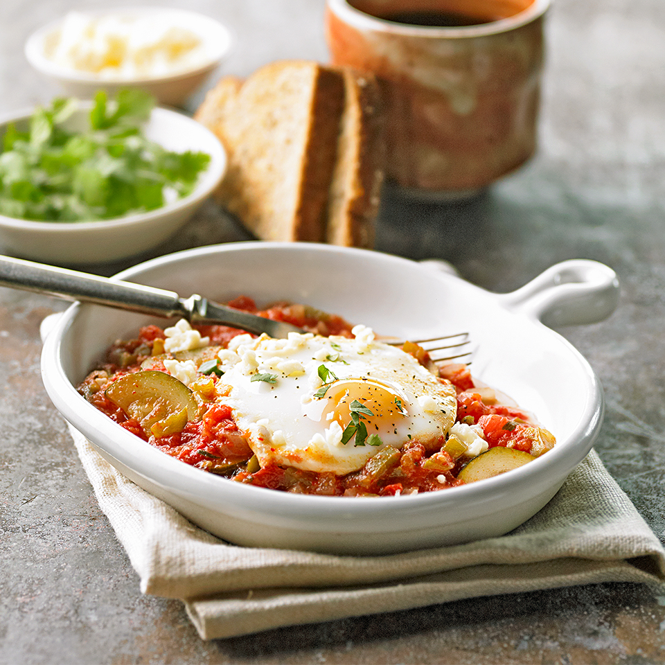 Anaheim chile pepper, cilantro and queso fresco combine to give a Spanish twist to a simple egg dish.Source: Diabetic Living Magazine