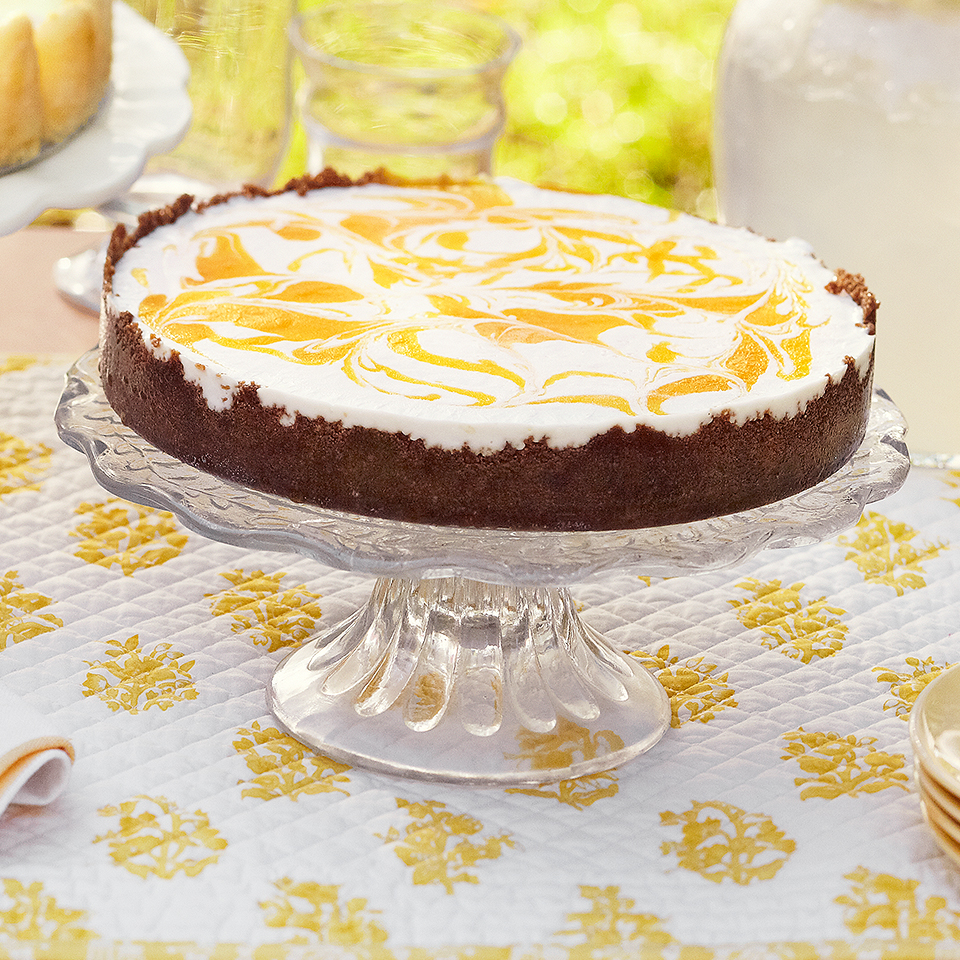 No-Bake Cheesecake with Gingersnap Crust and Mango Puree Trusted Brands