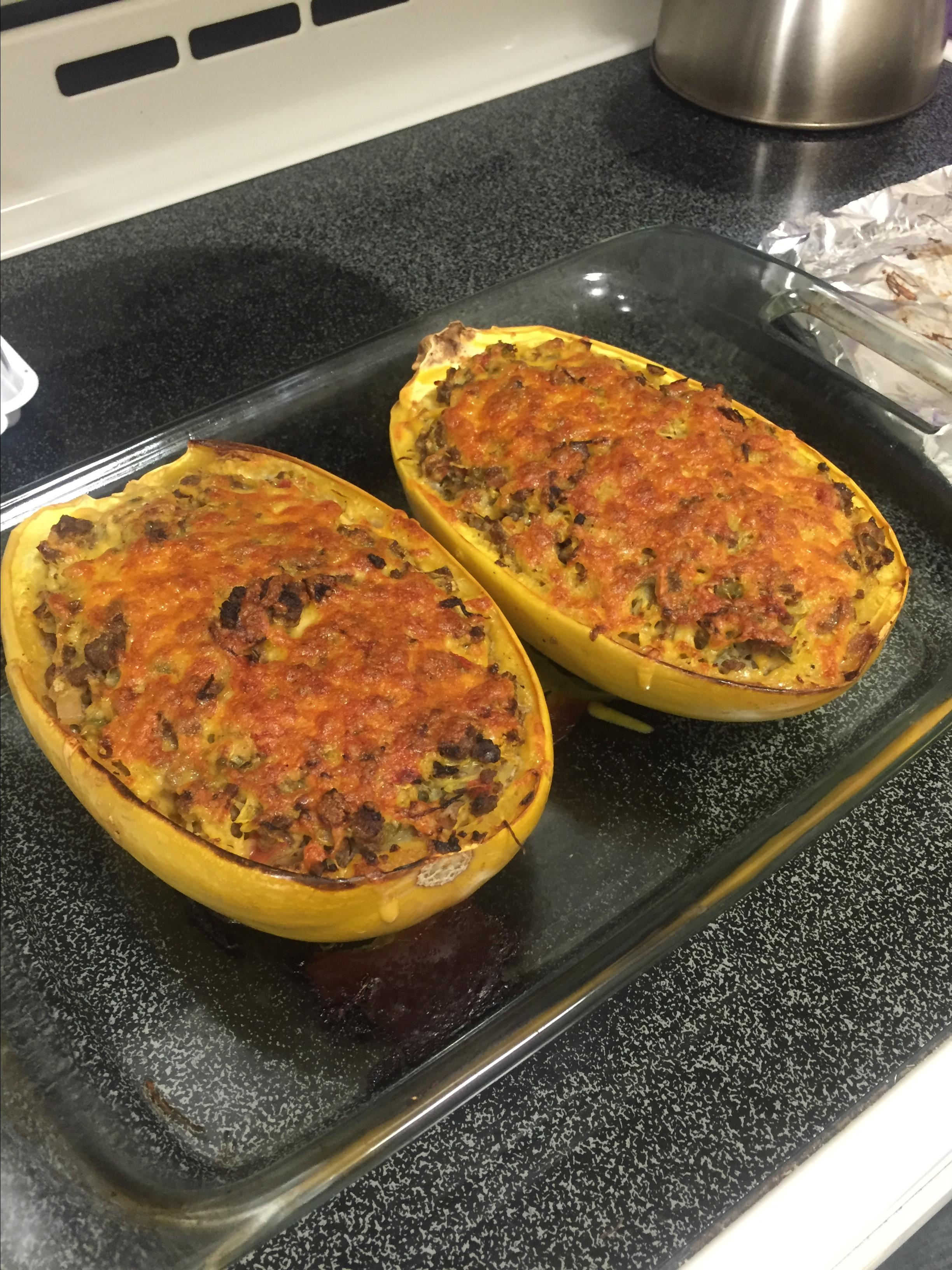 Spaghetti Squash Casserole in the Shell