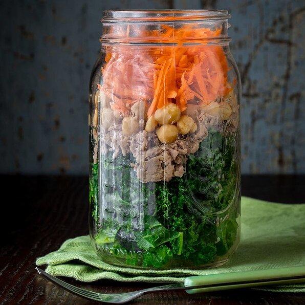 Mason Jar Power Salad with Chickpeas & Tuna