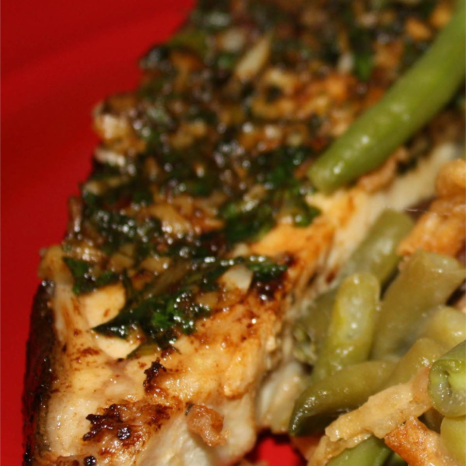Grilled Halibut with Cilantro Garlic Butter