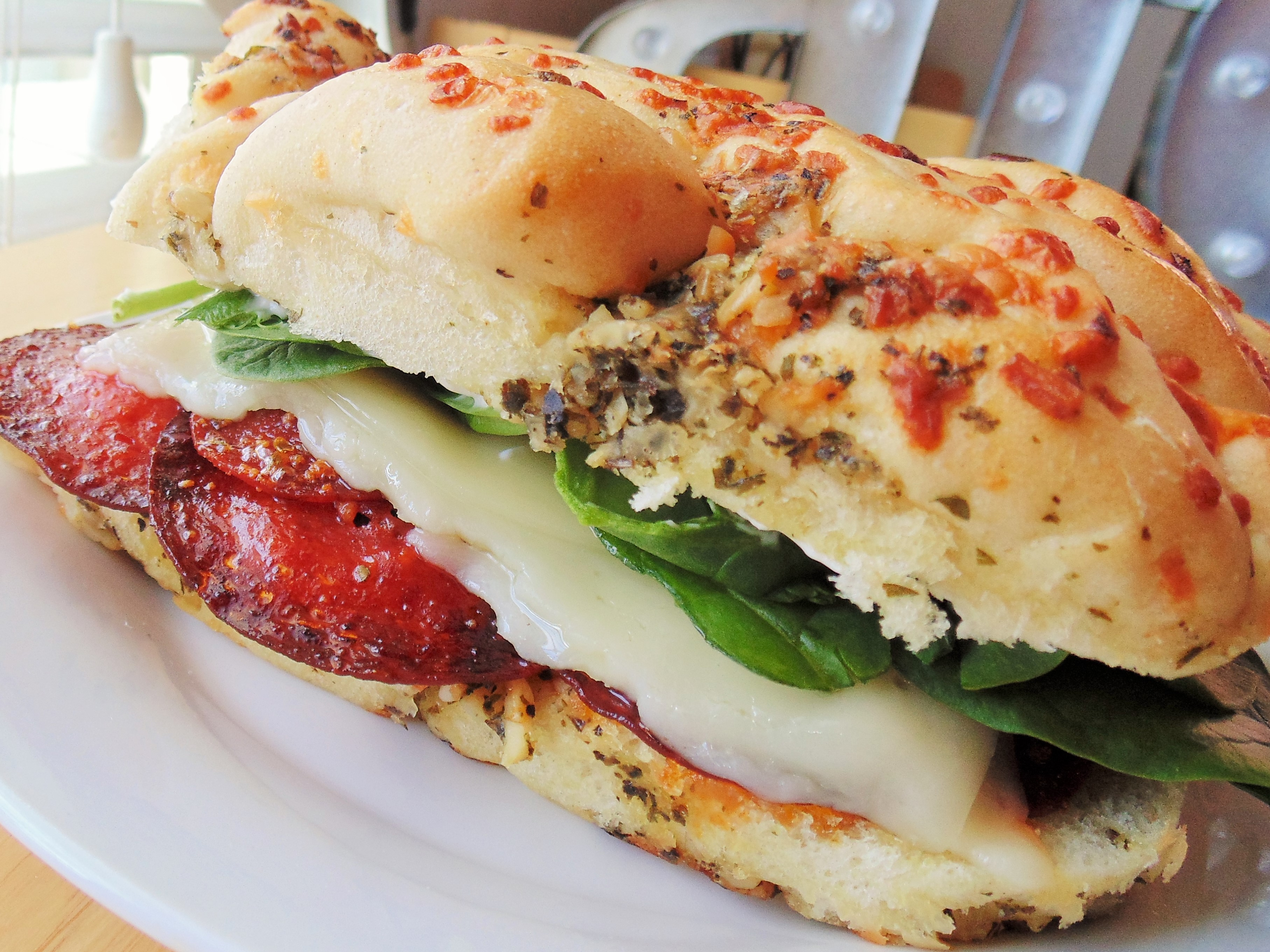 Grilled Margherita® Pepperoni on Focaccia with Sun-Dried Tomato Olio