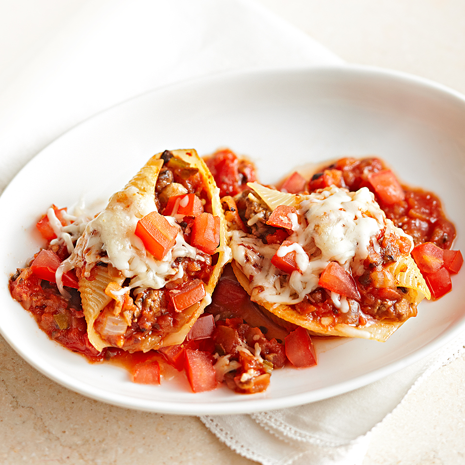 Jumbo pasta shells stuffed with a hearty beef and mushroom filling are baked with tomato sauce and cheese for an Italian-style dinner that's ready in less than an hour.