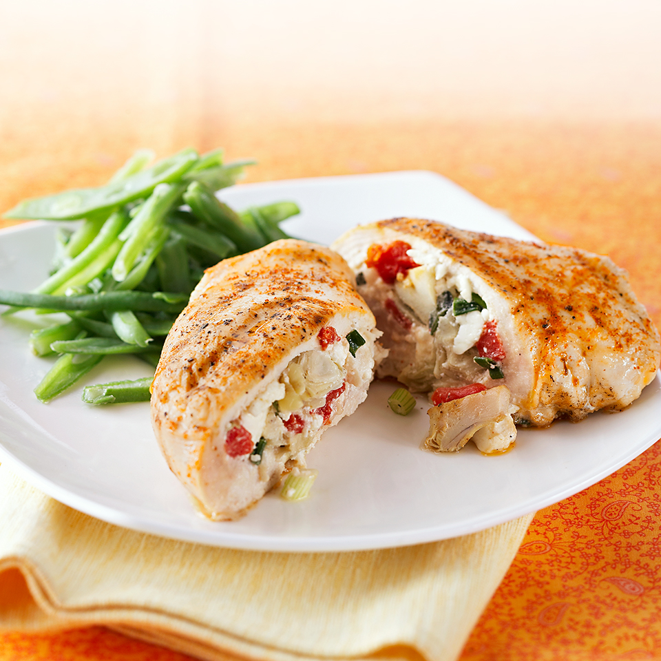 Chicken breasts are stuffed with feta cheese, artichoke hearts, and roasted red peppers for a Mediterranean-inspired dinner that's ready in about half an hour. Source: Diabetic Living Magazine