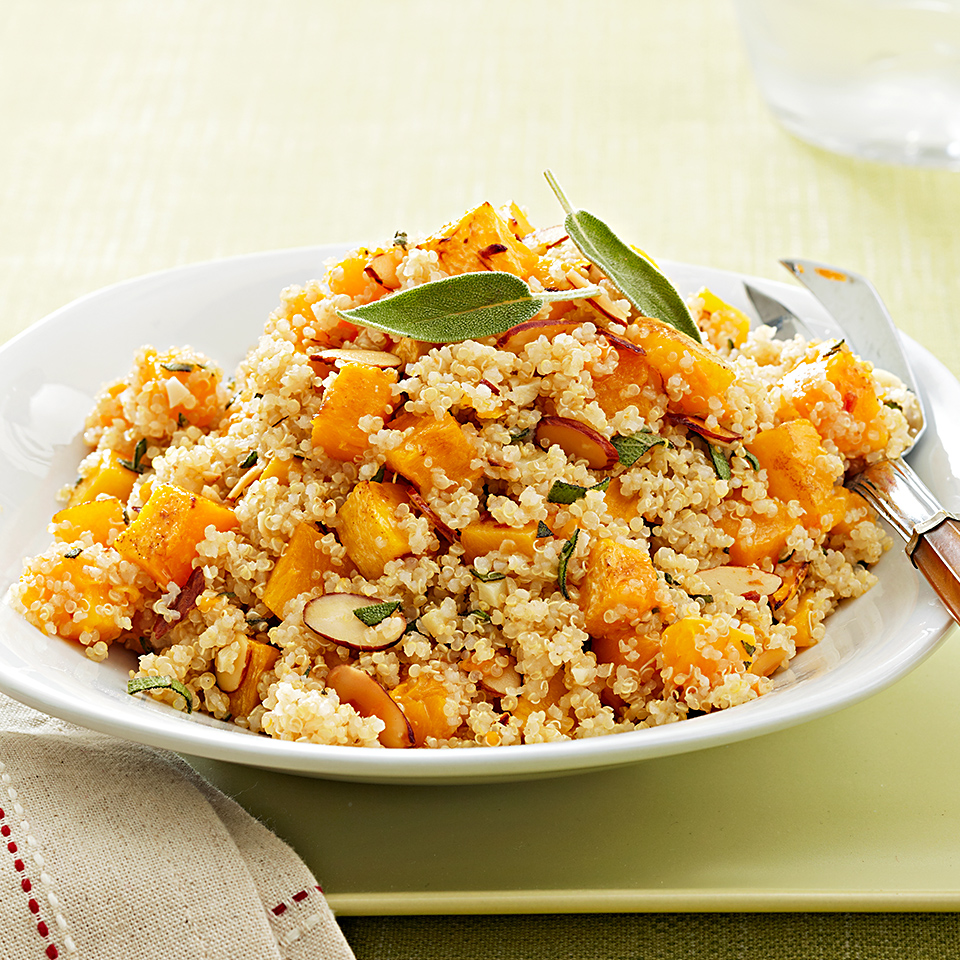 Quinoa, butternut squash, and almonds combine to make this hearty vegetarian side dish. It's perfect for a family dinner or to delight your vegan friends on Thanksgiving.