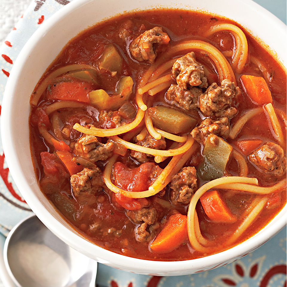 This easy slow-cooker soup has all the great flavors of your favorite dish of spaghetti with beef sauce, without a lot of fussy preparation.