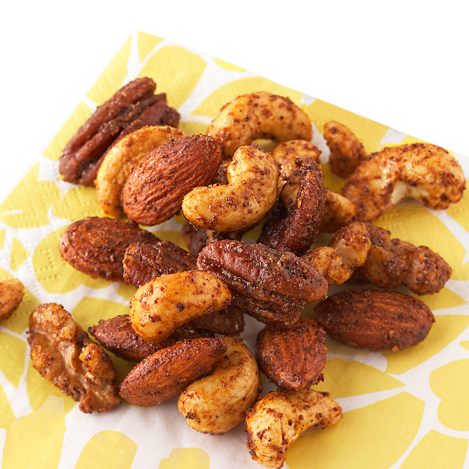 Spicy seasonings add a bit of zing to roasted nuts for an appetizer that's perfect for any occasion.