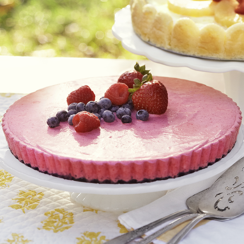 A fluffy raspberry filling in a chocolate cookie crust makes a fresh, light, and colorful dessert tart. Source: Diabetic Living Magazine
