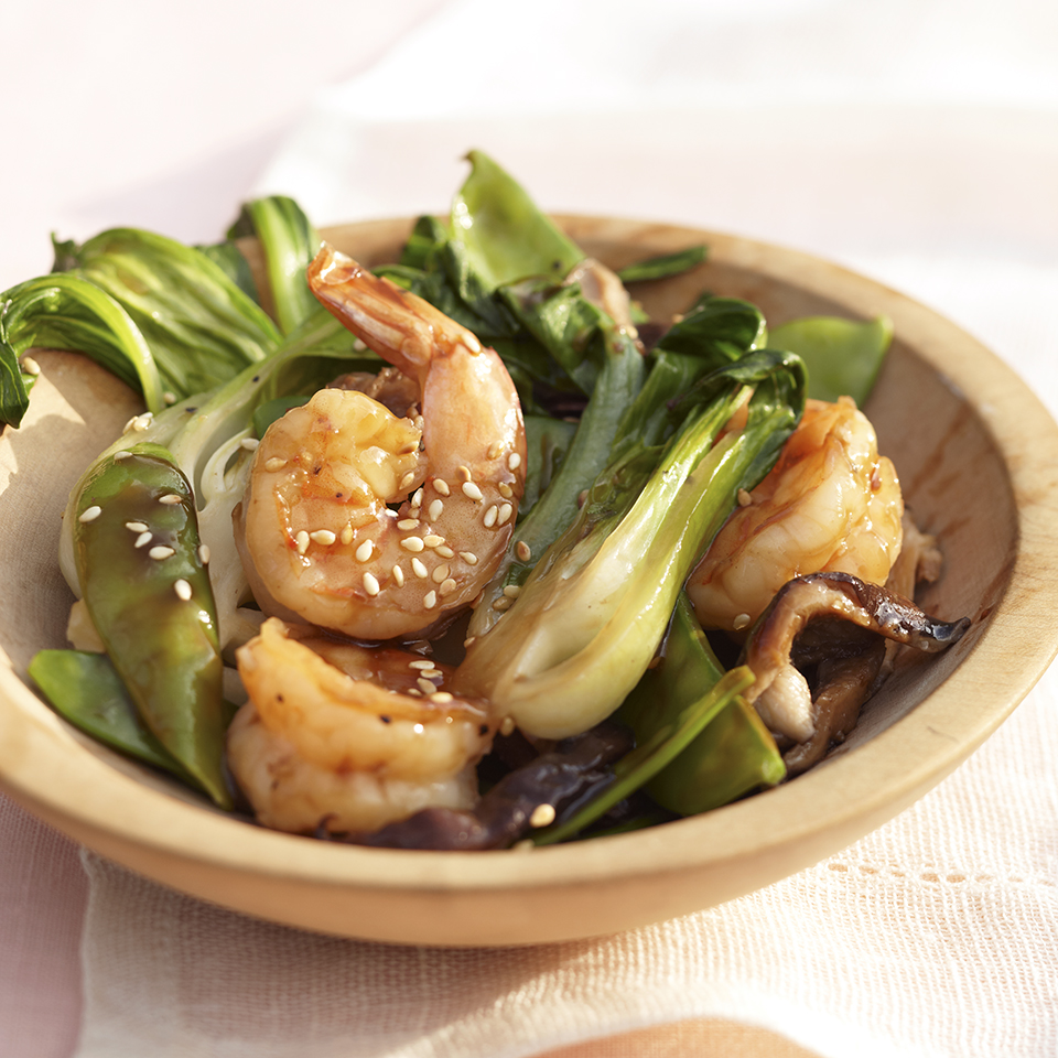 Sautéed Shiitake and Bok Choy with Shrimp Trusted Brands