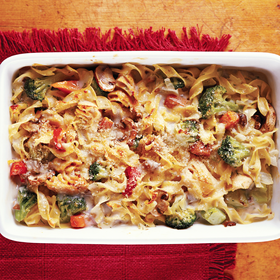 Use reduced fat soup and fat-free milk to make this favorite casserole lower in fat and calories. Adding a variety of vegetables makes it more nutritious than the traditional recipe. Source: Diabetic Living Magazine