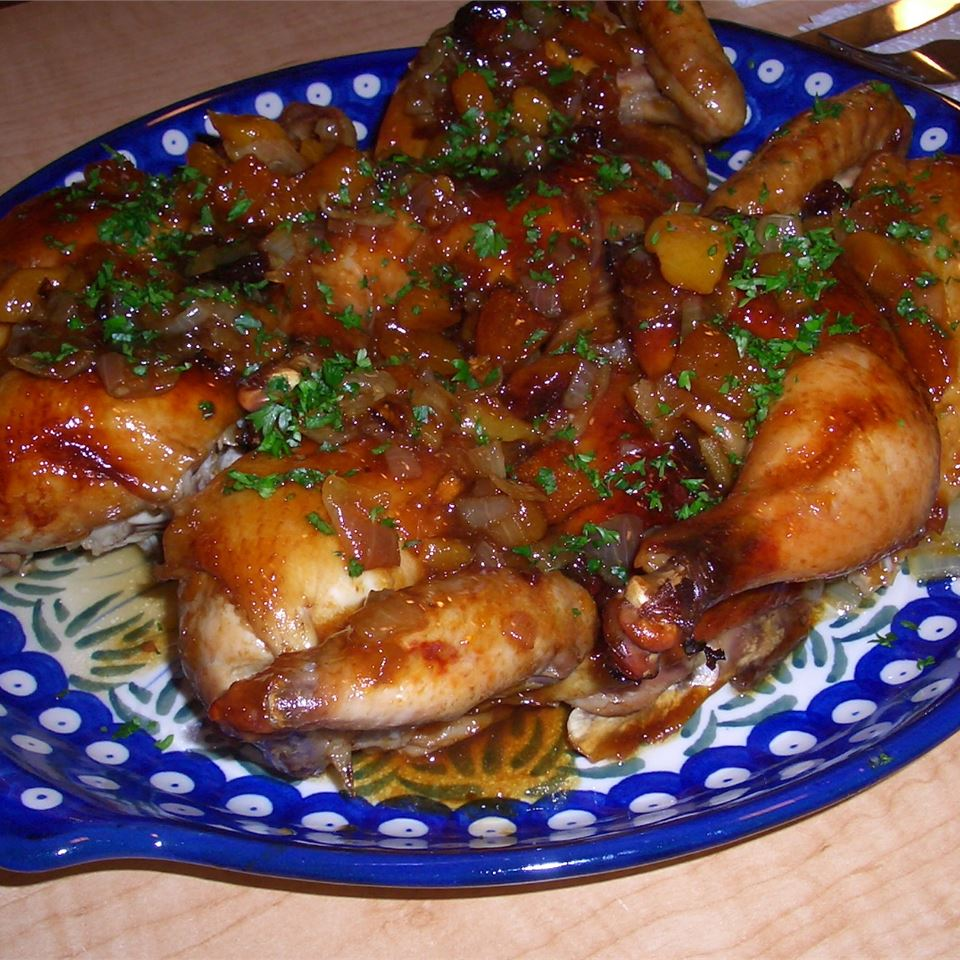 Glazed Cornish Game Hens With Apricot Pistachio Dressing