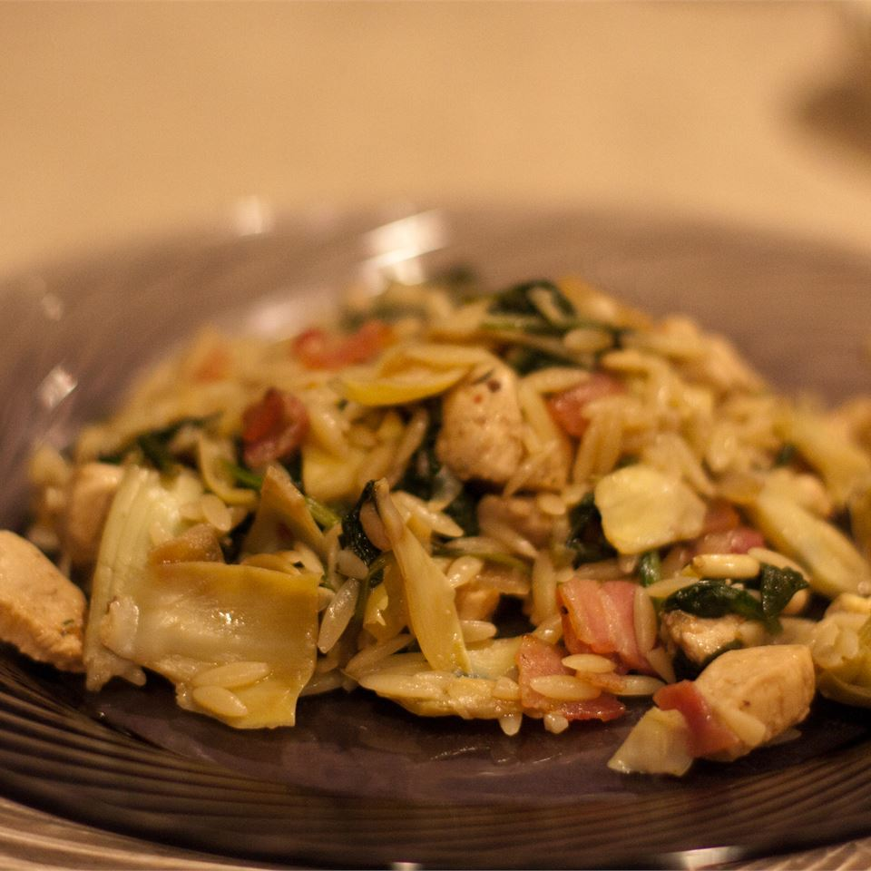 """Orzo with Artichokes, Balsamic vinegar and Chicken -- as easy as A-B-C! Pancetta, spinach, and toasted pine nuts also play tasty parts in this pasta dish!"" says Senoritapupnstuff. ""Great for rotisserie chicken -- and also a great way to use up leftover roast chicken (or turkey) meat!"""
