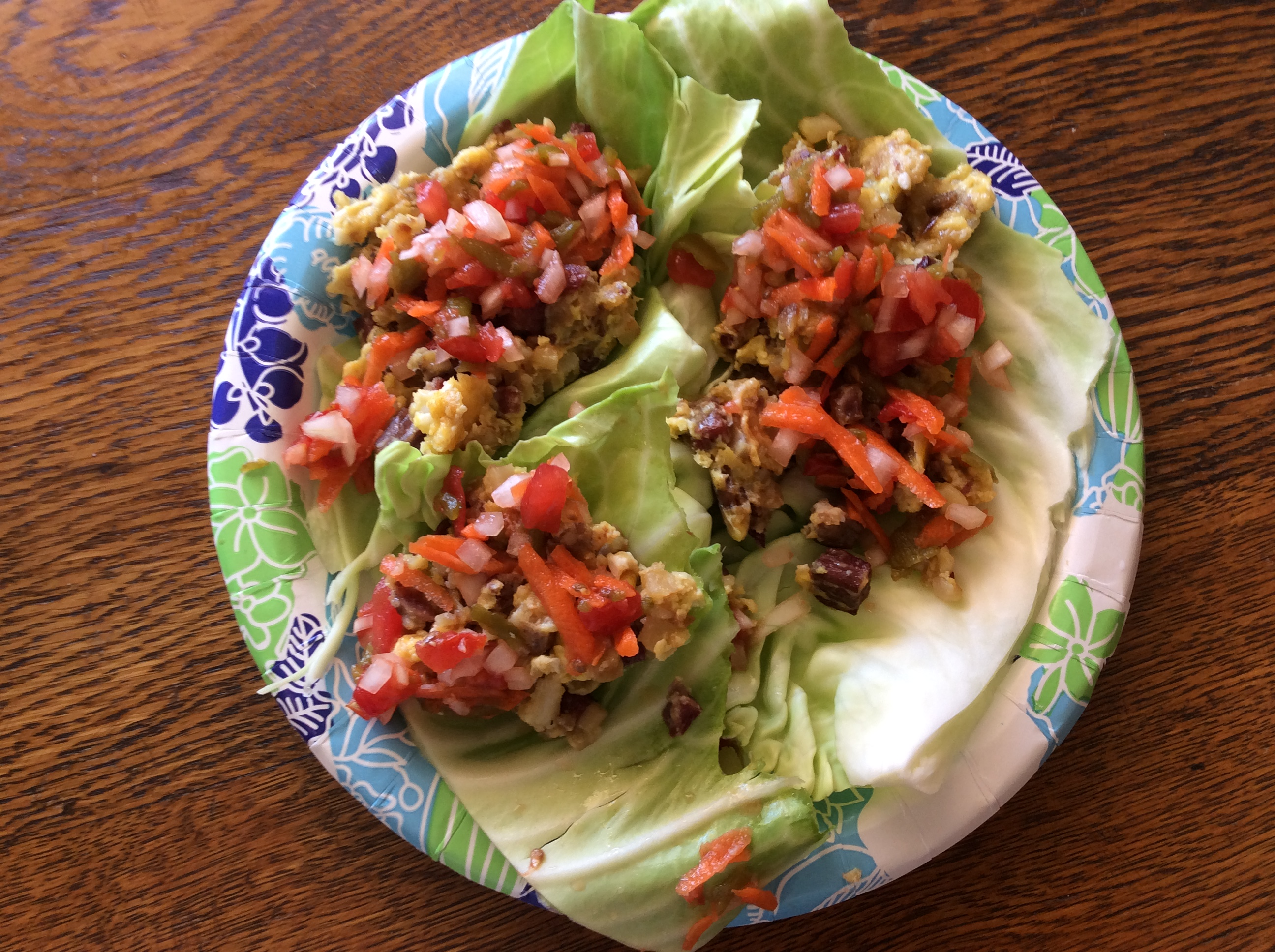 Corned Beef and Cabbage Leaf Wraps with Carrot Salsa Luvs2qlt