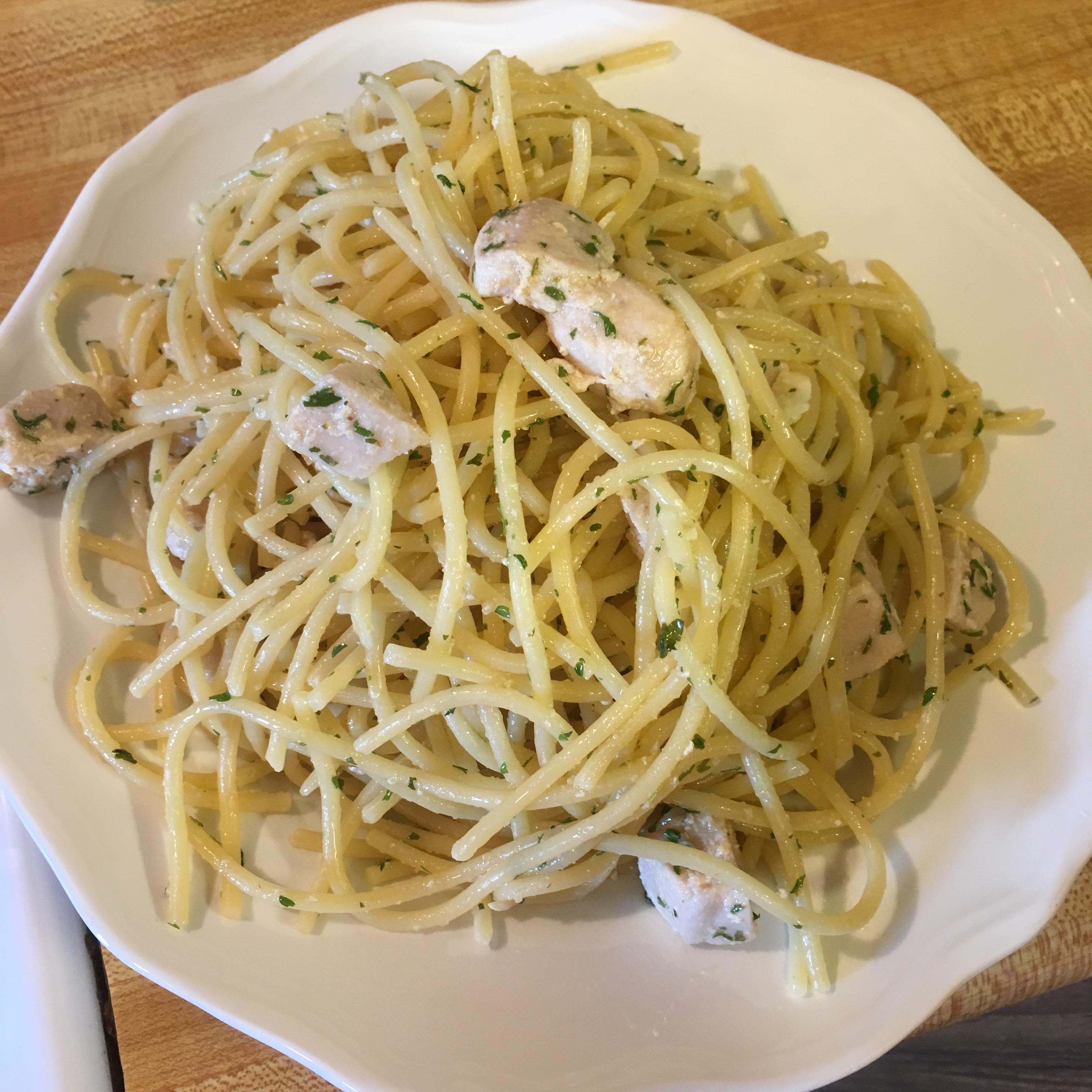 Angel Hair Pasta with Lemon and Chicken (Lighter) Honeybee88