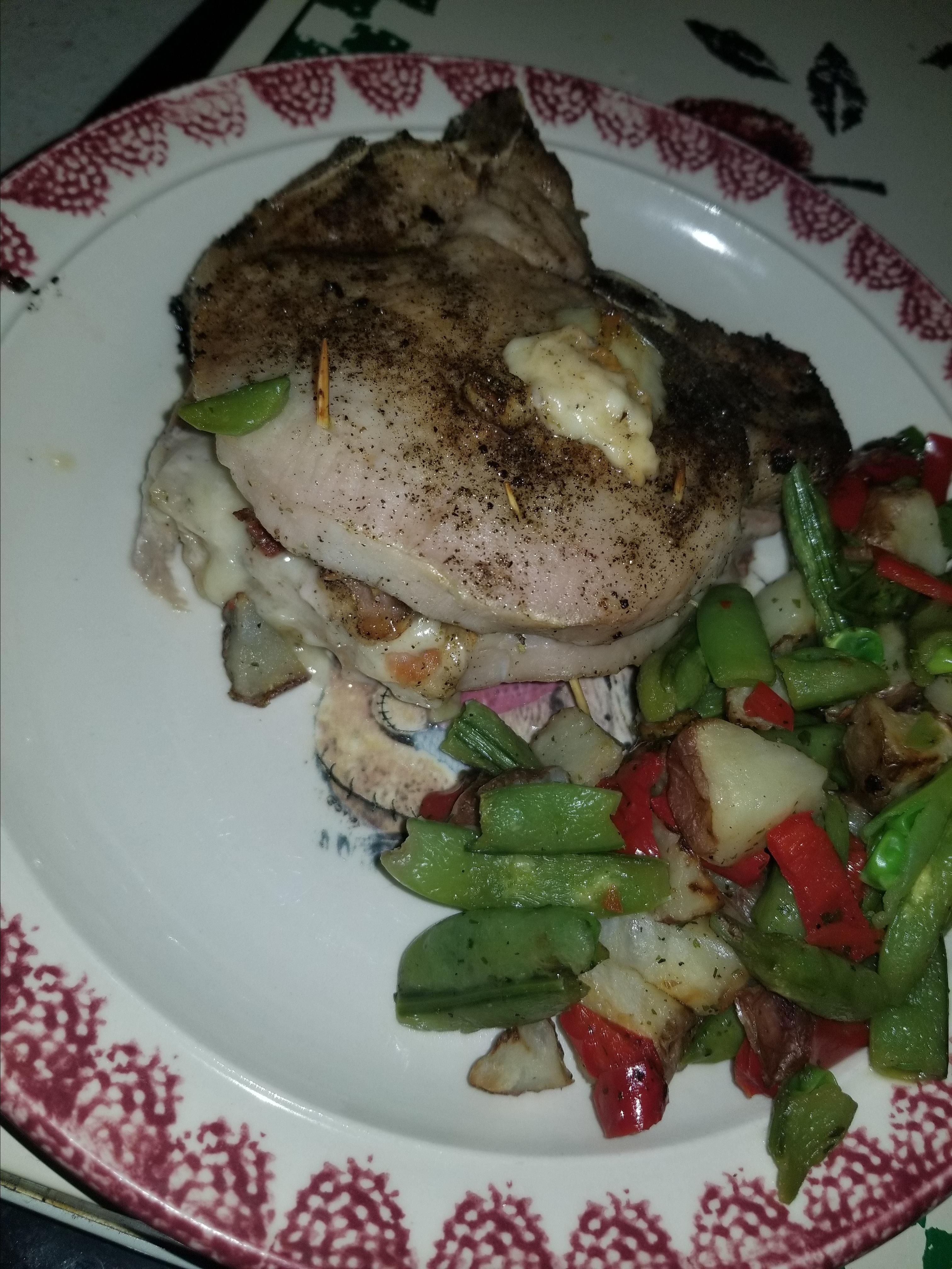 Pork Chops Stuffed with Smoked Gouda and Bacon AquaFina