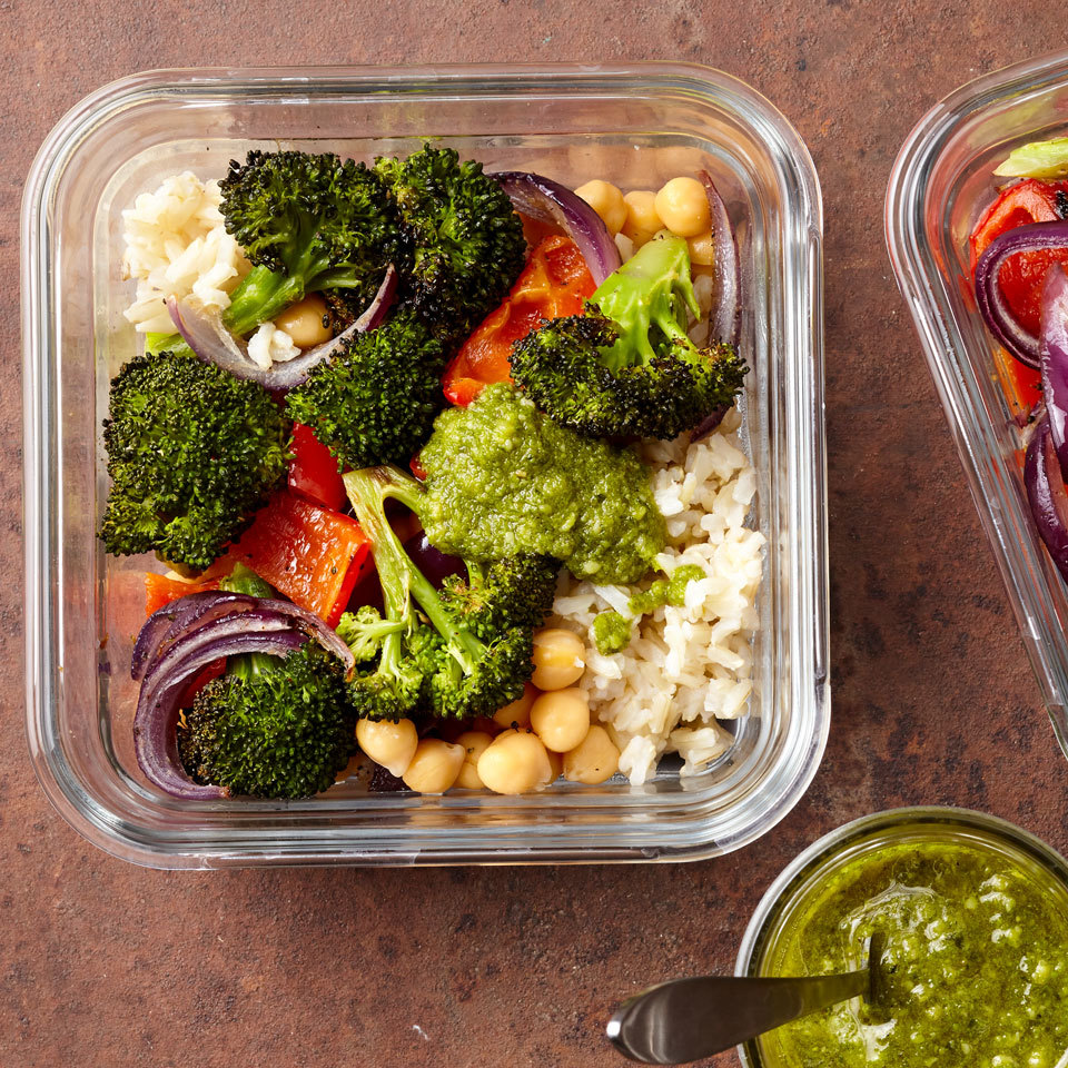 Meal-Prep Roasted Vegetable Bowls with Pesto Trusted Brands