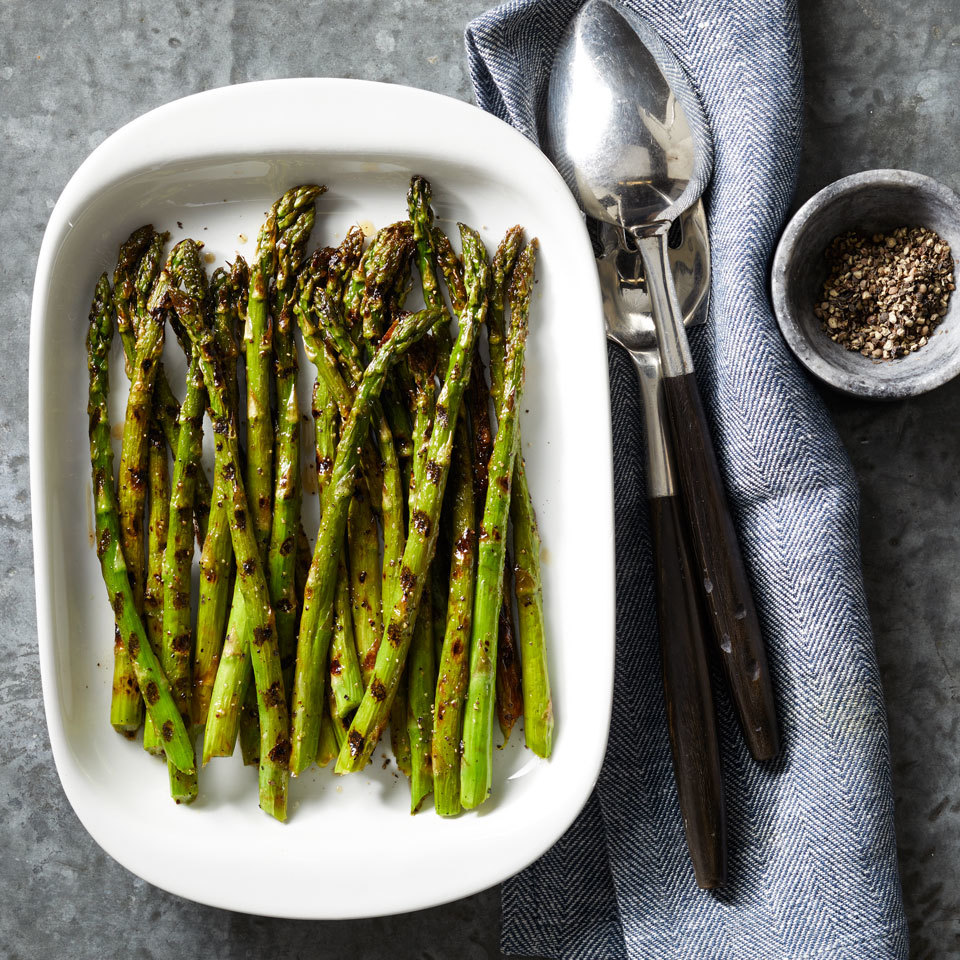 Grilling is a simple and fast way to cook asparagus that yields a delicious result every time. Trimming off about one inch of the asparagus yields the best flavor--the ends are tough and hard to chew. Source: EatingWell.com, March 2018
