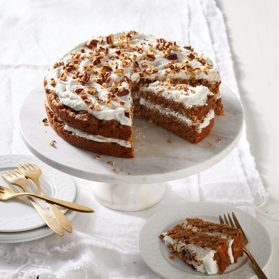 Classic carrot cake goes vegan in this easy recipe, and gets covered with coconut whipped cream to replace the traditional cream cheese frosting. A mixture of flax and water makes a sturdy substitute for eggs in this vegan cake. Plus, sweet crushed pineapple helps to make this cake delicious with less added sugar. Source: EatingWell.com, March 2018