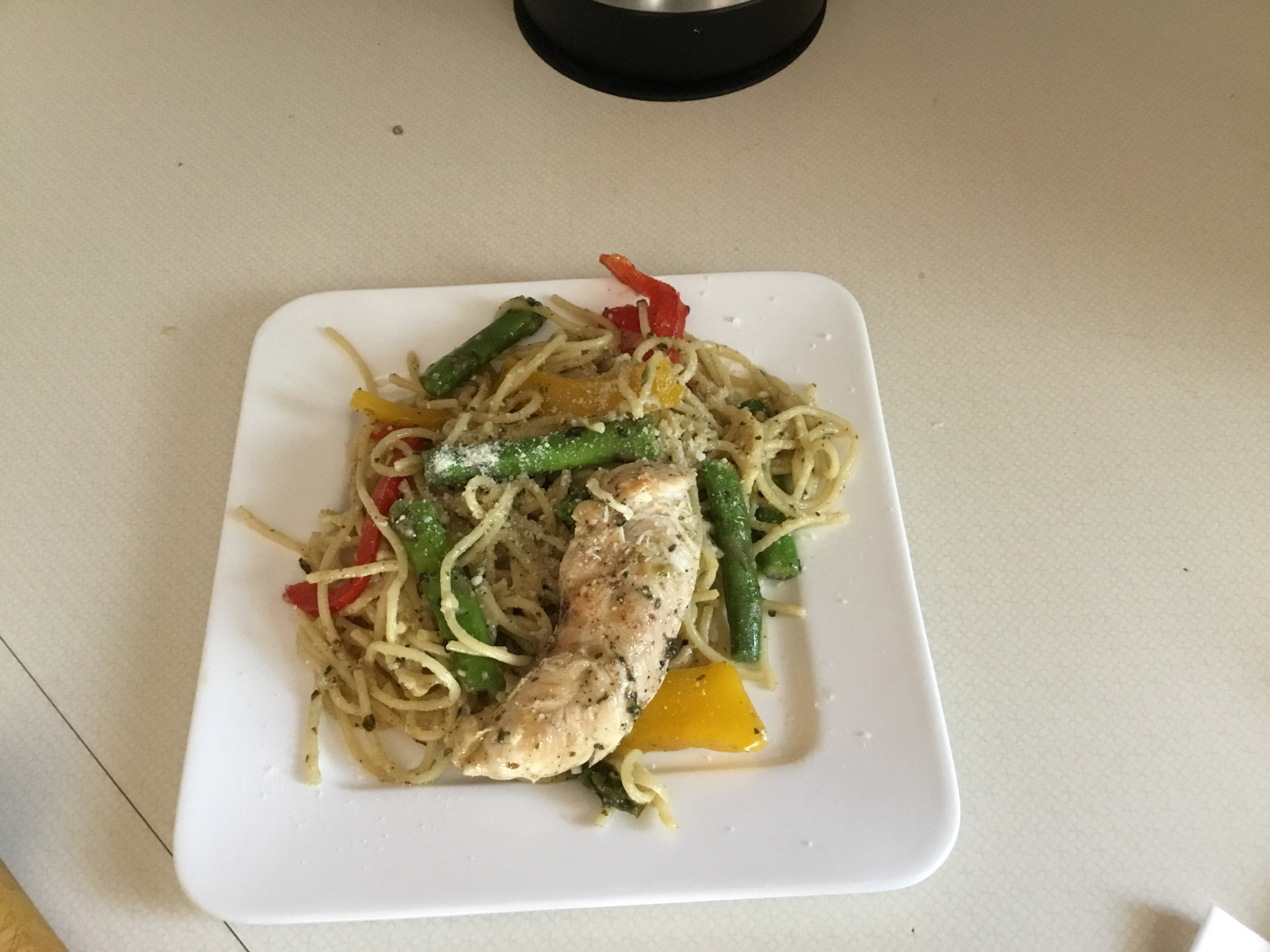 Colorful Chicken Pesto with Asparagus, Sun Dried Tomatoes and Peppers AnnaSN