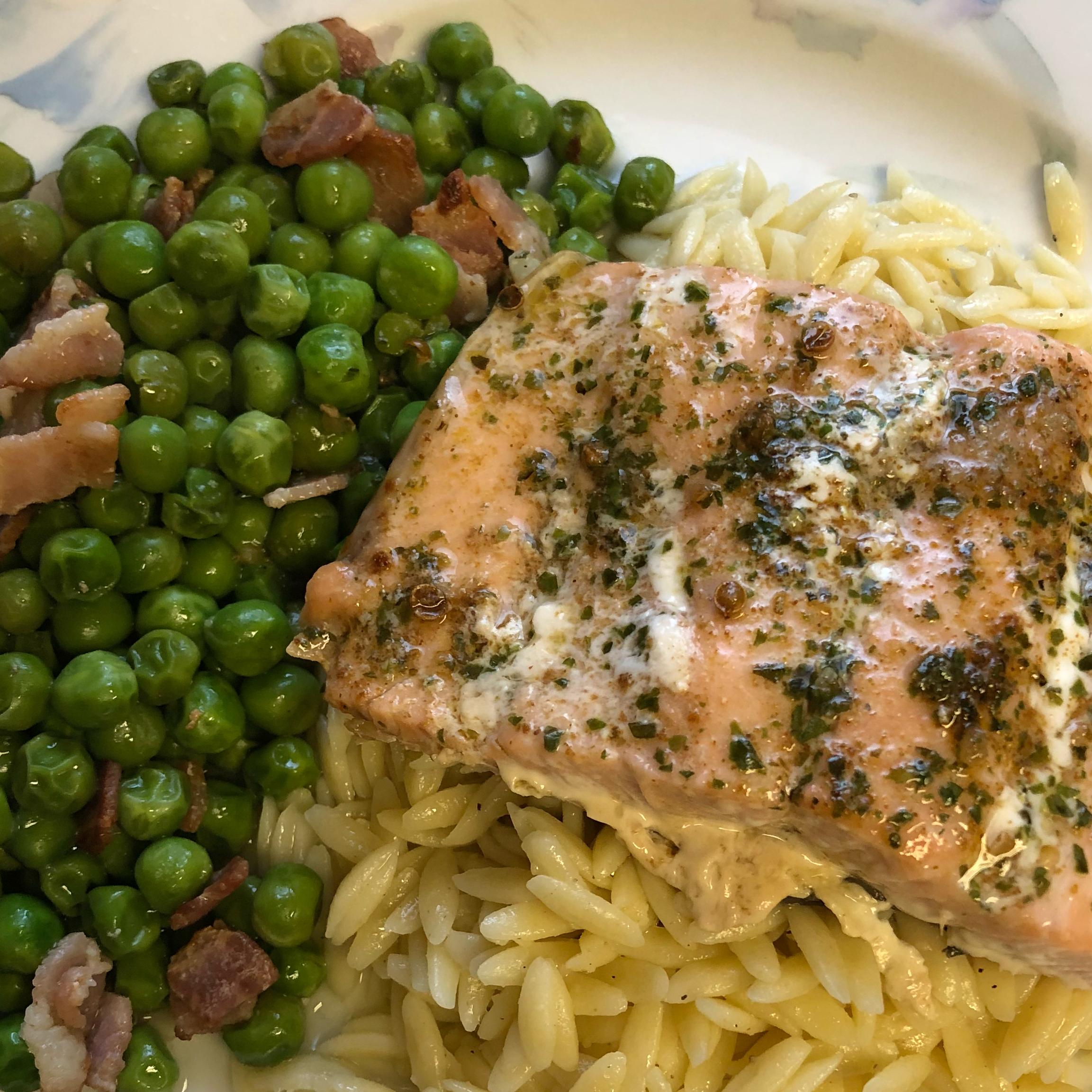 Baked Salmon with Lemony Orzo and Basil-Bacon Peas Andrea Thorrougood